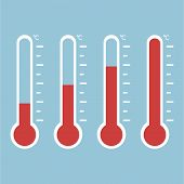 Thermometer Equipment Showing Hot Or Cold Weather. Thermometer Icon.celsius And Fahrenheit Meteorolo poster