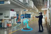 Iot Smart Technology Futuristic In Industry 4.0 Concept, Engineer Use Augmented Mixed Virtual Realit poster