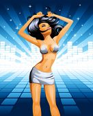 vector illustration of dancing girl