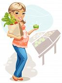 vector cartoon illustration of pregnant woman on Vegetable Market
