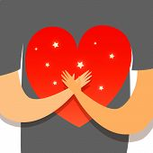 Love Yourself.hands Hold Love. Save Love  Vector Flat Illustration. poster