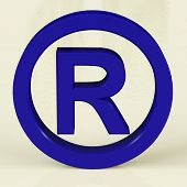 Blue Registered Sign Representing Patented Brands poster