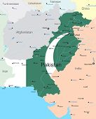 Vector map of Pakistan country colored by national flag