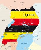 Abstract vector color map of Uganda country colored by national flag