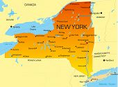Vector color map of New York state. Usa