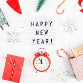 New Year Or Christmas Pattern Flat Lay Top View Red Alarm Clock Twelve Midnight Xmas Holiday Celebra poster