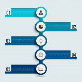 Business Data Visualization. Process Chart. Abstract Elements Of Graph, Diagram With 5 Steps, Option poster