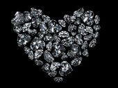 Heart of Diamonds isolated on black background