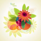 Vector background of flowers and leafs.