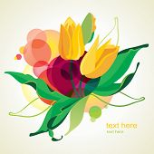 Vector illustration of blossoming tulips.