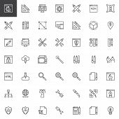 Designer Tools Outline Icons Set. Linear Style Symbols Collection, Line Signs Pack. Vector Graphics. poster