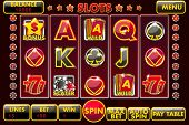 Vector Interface Slot Machine In Black-red Colored. Complete Menu Of Graphical User Interface And Fu poster