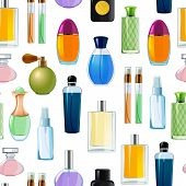 Vector Perfume Bottles Pattern Or Background Illustration. Perfume Bottle Glamour, Fashion Fragrance poster