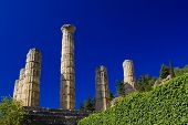 stock photo of olympic stadium construction  - Temple in the archeological site of Delphi Greece - JPG