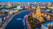 Aerial View Of Moscow City With Moscow River, Russia, Moscow Skyline With The Historical Architectur poster