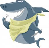 Illustration Featuring a Shark Wearing a Bib and Holding a Fork and a Knife