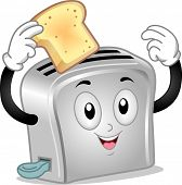 Mascot Illustration of a Toaster Holding a Toasted Bread