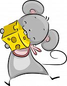 Illustration of a Mouse Happily Nibbling on a Chunk of Cheese