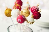 stock photo of cake-ball  - Christmas cake pops - JPG