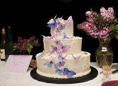 beautiful Wedding cake with butterflies on it with card for couple