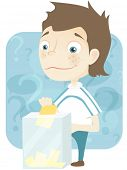 Cartoon Character Cute Teenager Isolated on White Background. Election. Vector EPS 10.