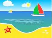 Summer background, beach and yacht on sea