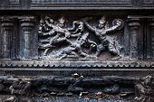 Bas relief depicting Durga slaying demon (Maheeshasuramardini). Brihadishwara Temple. Tanjore (Thanjavur), Tamil Nadu, India. The Greatest of Great Living Chola Temples - UNESCO World Heritage Site