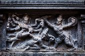 image of great living chola temples  - Bas relief depicting Durga slaying demon  - JPG
