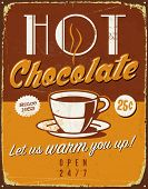 Vintage metal sign - Hot Chocolate - Vector EPS10. Grunge effects can be easily removed for a brand