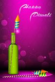 illustration of diwali card with fire cracker on abstract background