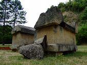 picture of hearse  - Old sarcophagi exposed in City Park in the city of Jajce Bosnia - JPG