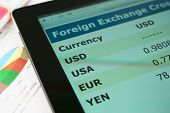 stock photo of nyse  - Modern tablet pc on a table with currency exchange information - JPG