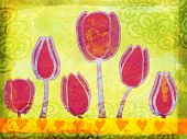 Spring Tulips Grunge Illustration
