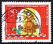 Postage stamp Germany 1967 Girl under Gold Rain, Scene from Moth