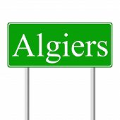 image of algiers  - Algiers green road sign isolated on white background - JPG