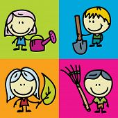 Icon set of doodle happy children with garden tools