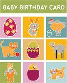 Baby Geburtstagskarte - Tiere-Satz, Vektor