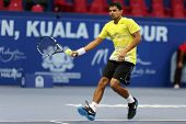 KUALA LUMPUR - SEP 22: Sanam Singh of India plays in the qualifying match of the ATP Tour Malaysian