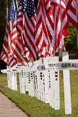 Crosses With Names Of Fallen Soldiers Commemorate Memorial Day