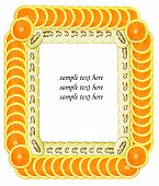 Scheibe Orange und Kiwi machen Frame für Beispieltext