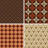 Set of four square seamless patterns for backgrounds and wallpapers