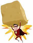 Rojo superhéroe levantar pesado Big Rock