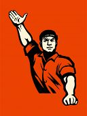 stock photo of communist symbol  - Propaganda poster with agitated worker in red - JPG
