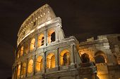 Coliseum In Rome In Night