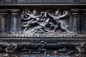 picture of chola  - Bas relief depicting Durga slaying demon  - JPG