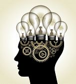 Vector Illustration - Thinking Concept. human head with light bulbs and gears. The file is saved in the version AI10 EPS. This image contains transparency.