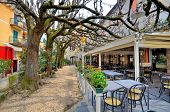 Outdoor restaurant with tables and chairs under tree branches in town of Sirmione, Italy.