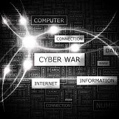 CYBER WAR. Word cloud concept illustration.