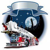 Vector Cartoon Fire Truck
