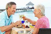 Casal sênior, aproveitando a refeição no restaurante à beira-mar